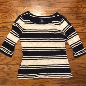 Navy Blue and White Striped 3/4 Sleeve T-shirt